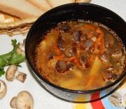 Вкусный гречневый суп с шампиньонами