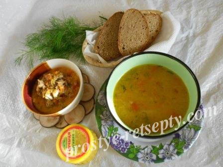 2 блюда с одних продуктов —  рисовый суп и подливка