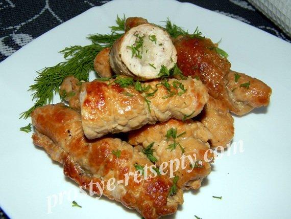 Пальчики из свинины с начинкой рецепт