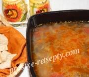 Суп с курицей, свининой и грибами