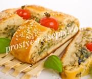 Пирог с грибами, курицей и сыром