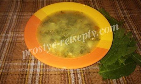 суп со щавлем на мясном бульоне