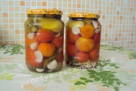 ассорти из огурцов и помидор на зиму