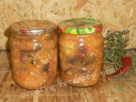 Салат  из баклажан «Тещин язык» на зиму