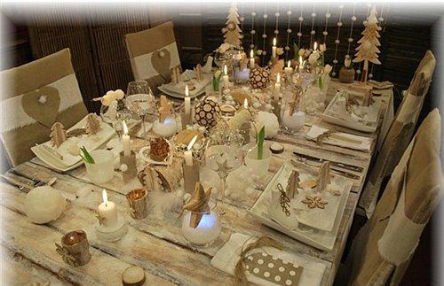 новогодний стол в деревенском стиле