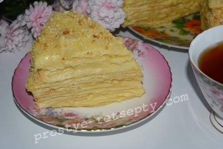 Торт наполеон с заварным кремом рецепт пошагово в домашних условиях