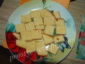 бисквит нарезать кусочками