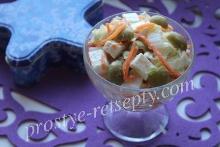 Вкусный салат с брынзой, оливками и овощами