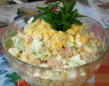 салат с жареными крабовыми палочками и грибами жареными рецепт