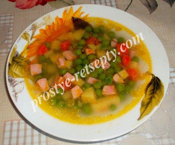 суп с зеленым горошком замороженным