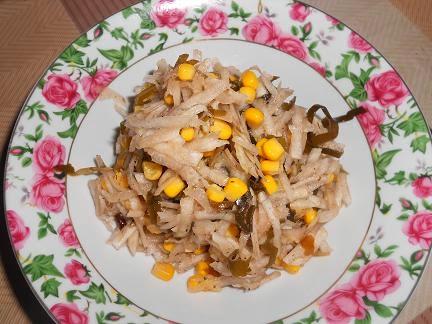 салат из топинамбура с кукурузой