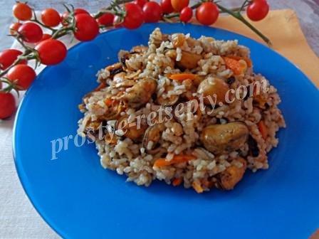 мидии с рисом