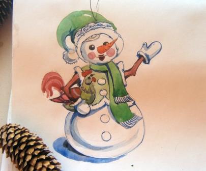 эскиз снеговика