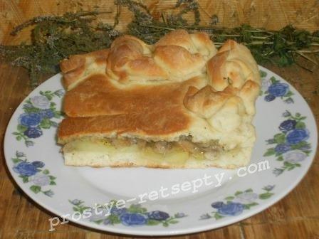 пирог с грибами и каротшкой