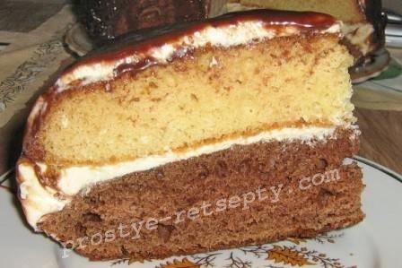 бисквитный пирог с прослойкой