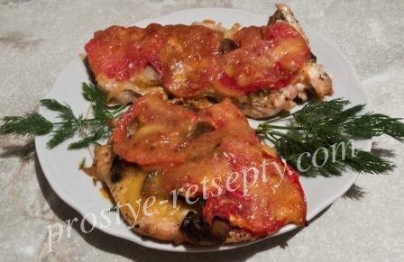 куриное филе с грибами и сыром в духовке