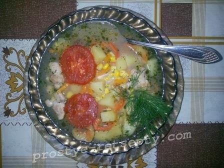 суп с курицей овощной